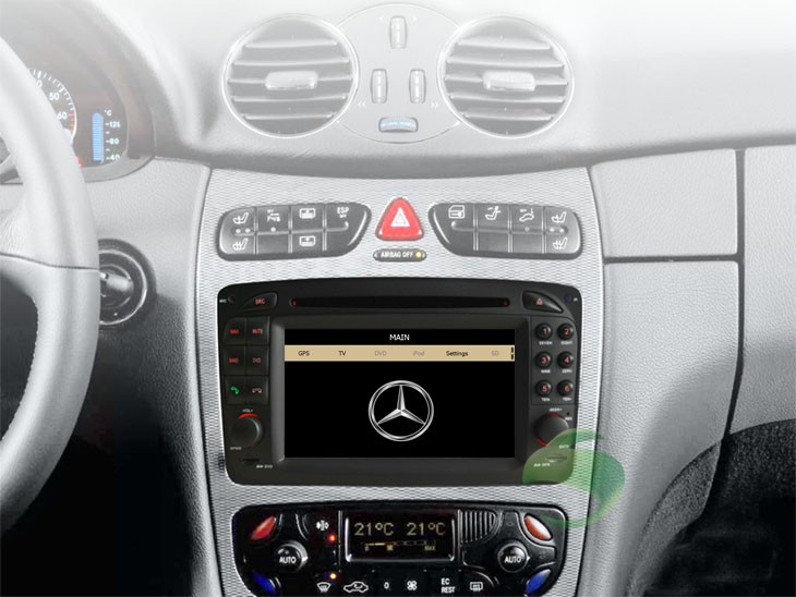 The Mercedes-Benz G-W463 dashboard after installing DVD player