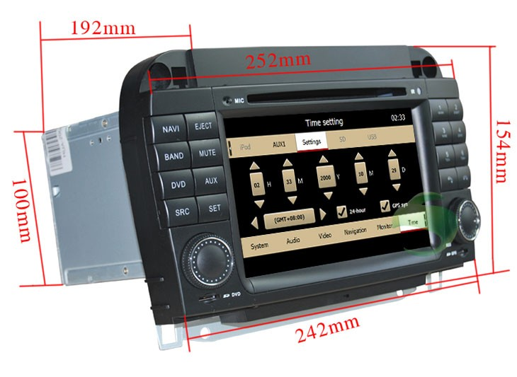The size and form of the Mercedes-Benz S-W220 dvd player