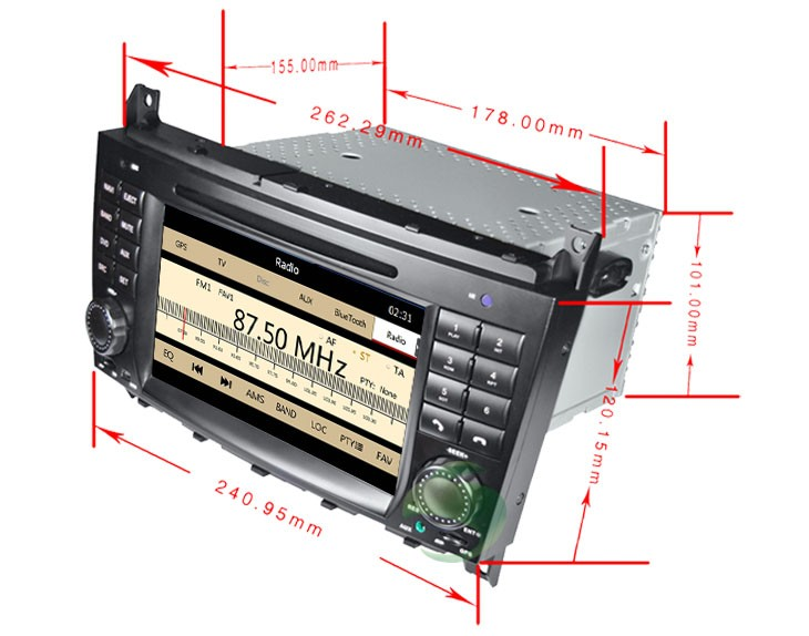 The size of Mercedes-Benz CLK W209 DVD player
