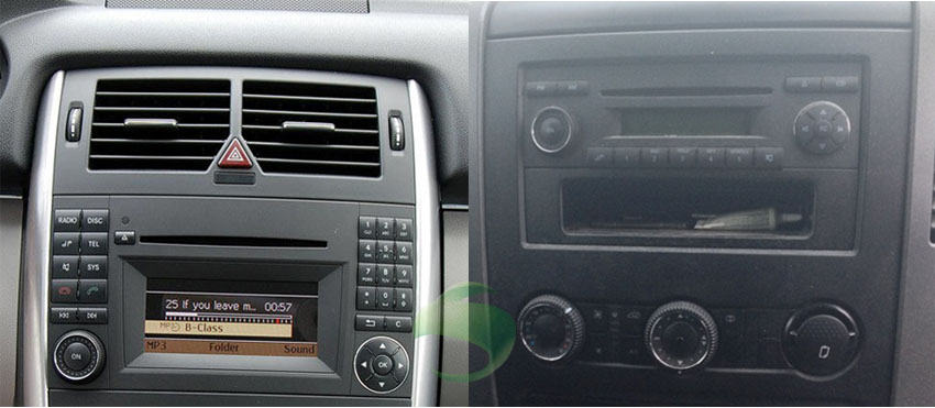 Two dfferent dashboard photos from the same car model
