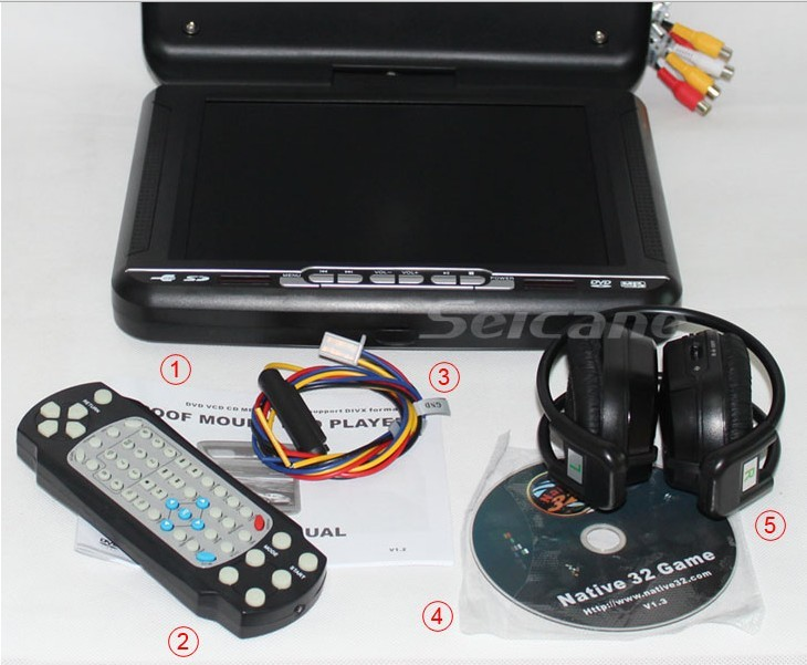 accessories of the 10.4 inch big Screen Roof Mount DVD Player