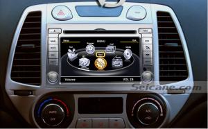 Head unit after installation,aftermarket GPS dvd navigation system of 2009 Hyundai I20
