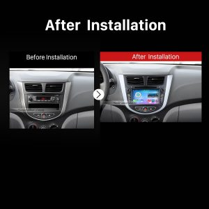 2011 onward Hyundai Accent Blue Car Stereo after installation