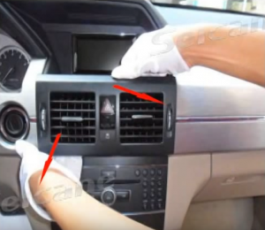 Remove the air vent and disconnect the connector at the back of the air vent