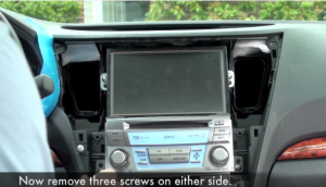 Remove six screws that fixed the radio on the dashboard