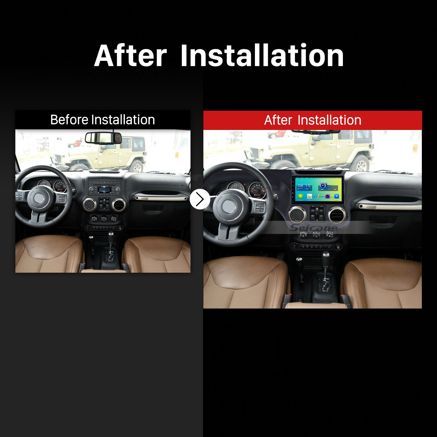 2015 2016 2017 JEEP Wrangler Car Radio after installation