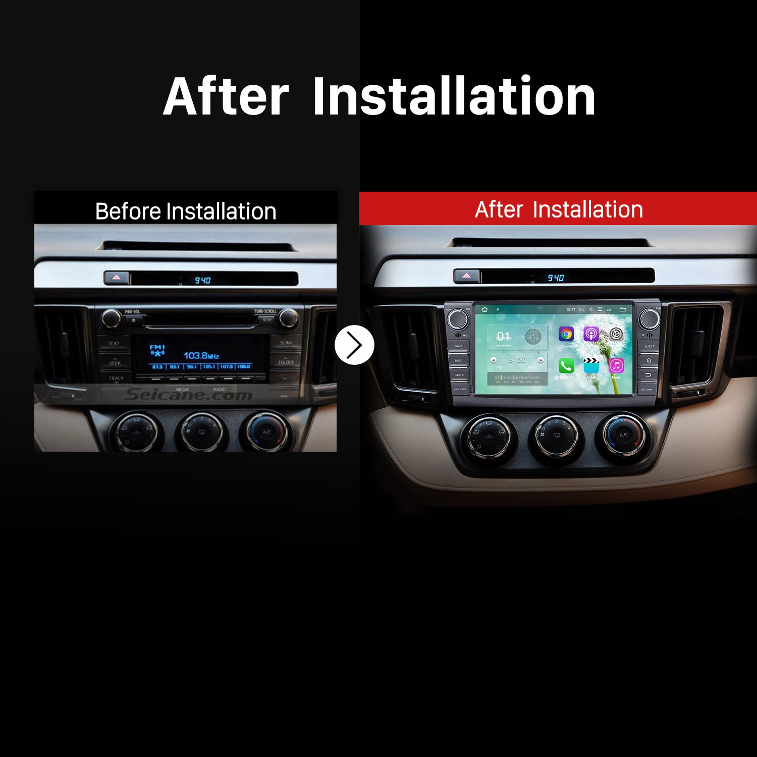 2013 2014 2015 2016 Toyota RAV4 Car Stereo after installation