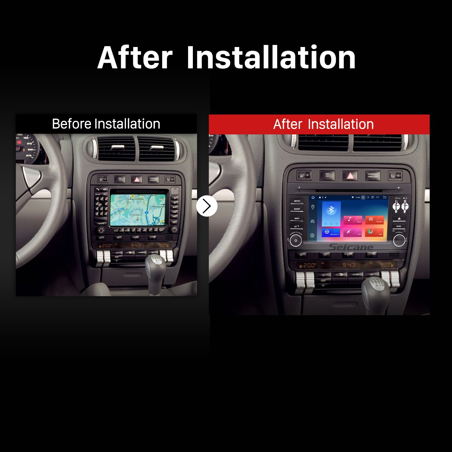 2003 2004 2005 2006-2010 Porsche Cayenne Car Stereo after installation