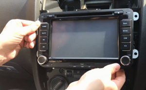 Gently take out the original car radio out from the dashboard