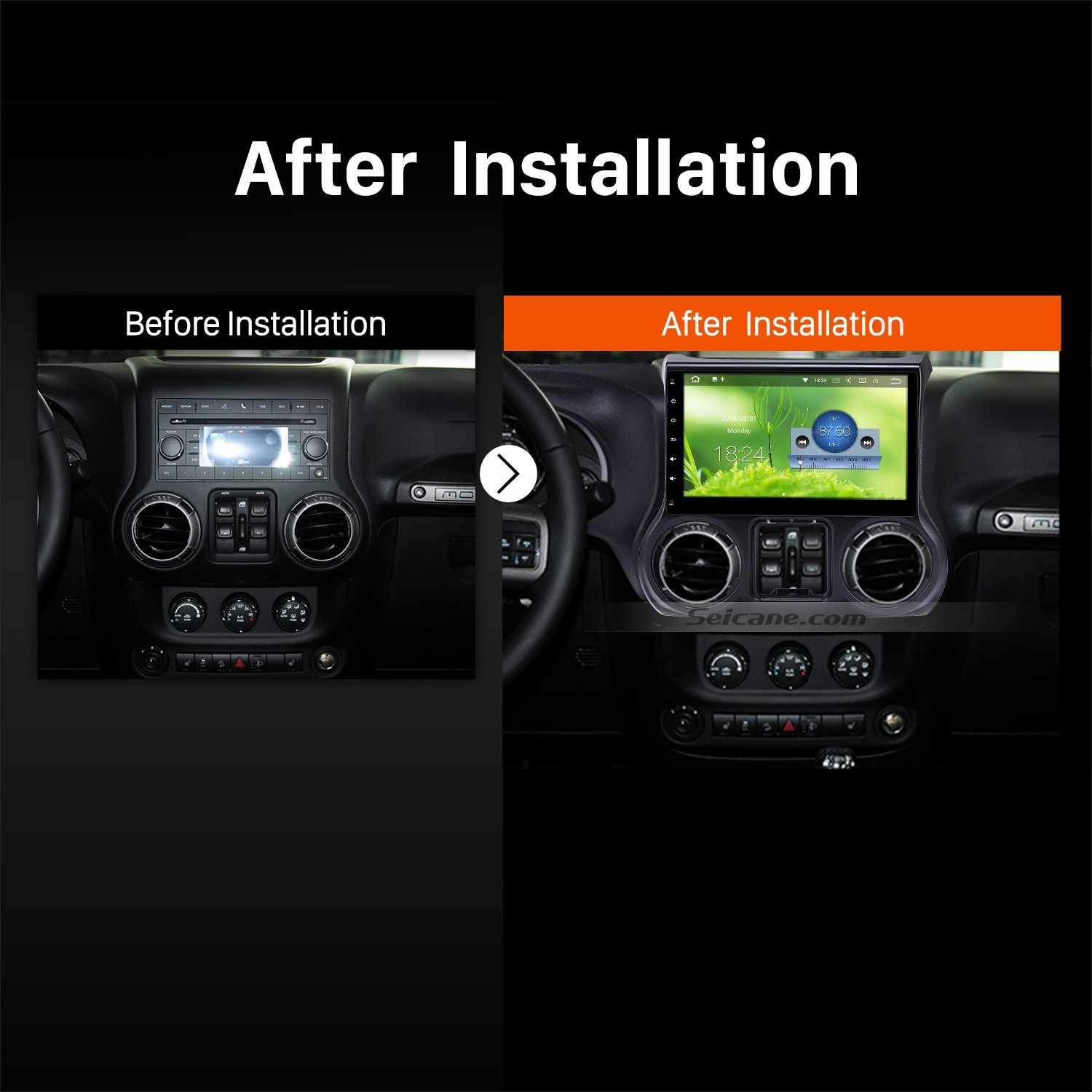 2011 2012 2013 2014 2015 2016 JEEP Wrangler Car Stereo after installation