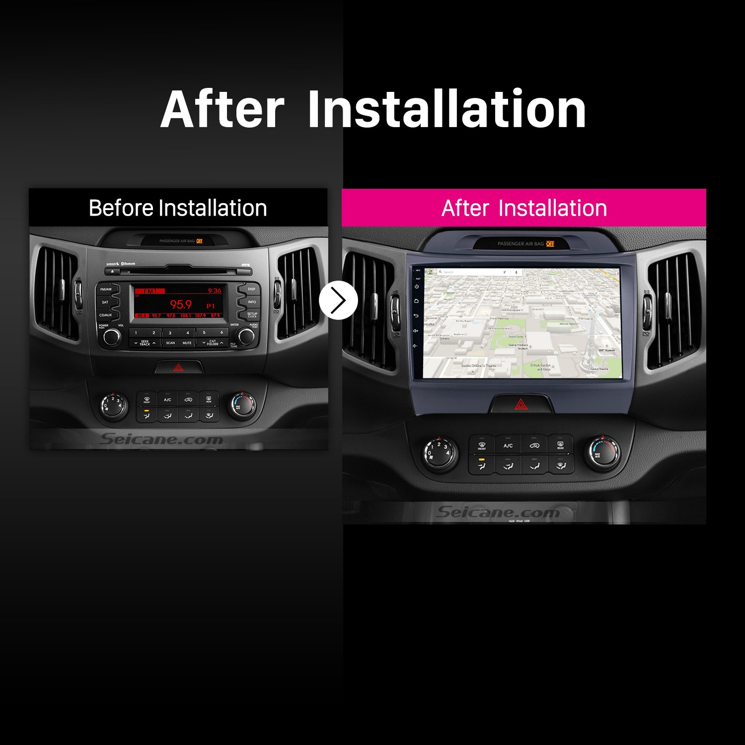 2010 2011 2012 2013-2015 KIA Sportage car radio after installation