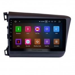 Android 10.0 10.1 inch 2012 Honda civic (LHD) Radio GPS Navigation Car stereo with Bluetooth Digital TV Mirror Link OBD2 DVR Backup Camera TPMS RDS Steering Wheel Control