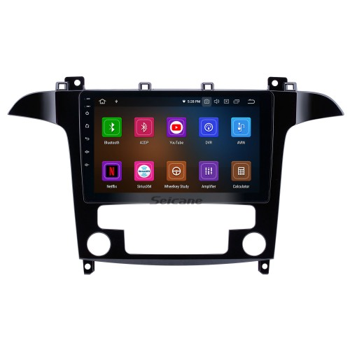 2007-2008 Ford S-Max Auto A/C Android 10.0 9 inch GPS Navigation Radio Bluetooth HD Touchscreen USB Carplay support Digital TV