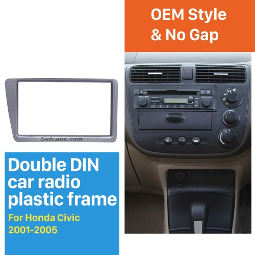Silver Grey Double 2Din 2001-2005 Honda Civic RHD Car Radio Fascia Stereo Interface CD Trim Fitting Frame In Dash Mount Kit