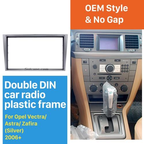 Silver 2Din Car Radio Fascia for 2006+ Opel Vectra Astra Zafira Dash CD Installation Kit Panel Kit Dashboard Frame Panel
