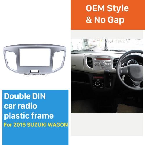 Silver Double Din 2015 Suzuki Wagon Car Radio Fascia DVD Frame Stereo Player Fit Installation Panel Plate
