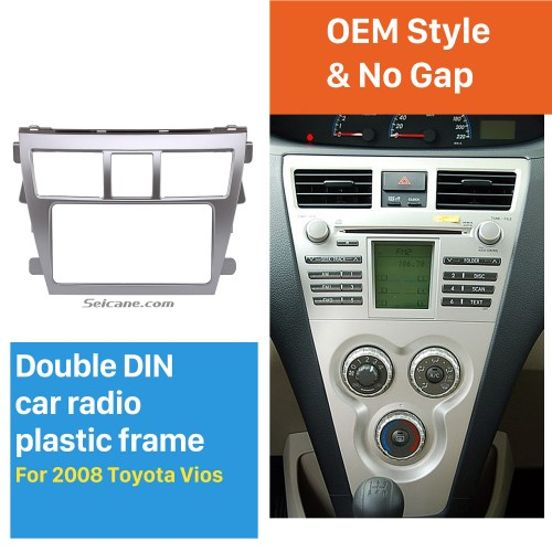 Silver 202*102mm 2Din 2008 Toyota Vios Car Radio Fascia CD Trim Frame Installation Face Plate Audio Player