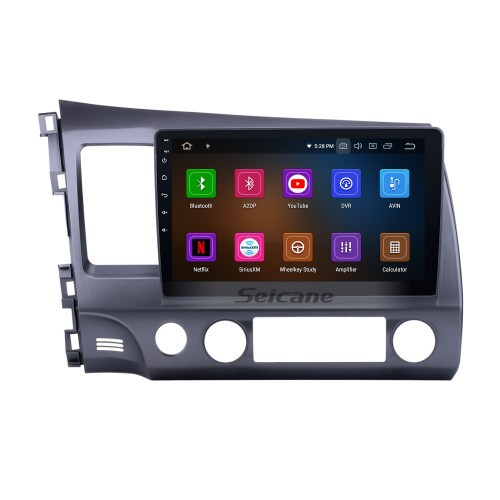 Android 9.0 HD 1024*600 touch screen  GPS navigation system for 2006-2011 Honda CIVIC left with Bluetooth Radio DVD player OBD2 DVR Rearview camera TV 1080P Video 4G WIFI Steering Wheel Control USB Mirror link