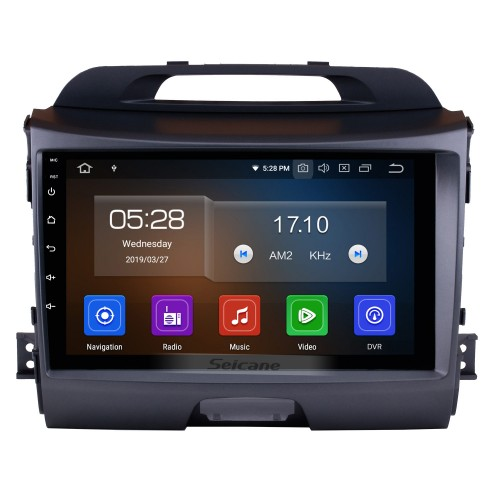 9 Inch Android 9.0 Touch Screen radio Bluetooth GPS Navigation system For 2011-2015 KIA Sportage R with TPMS DVR OBD II USB SD 3G WiFi Rear camera Steering Wheel Control HD 1080P Video AUX