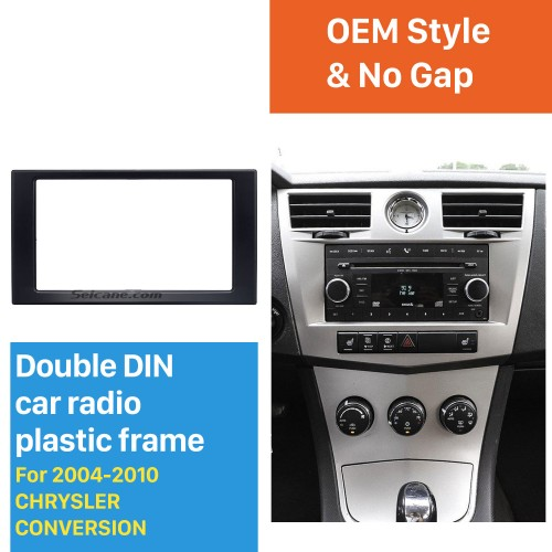 Top Quality 2 DIN Car Radio Frame Fascia for 2004-2010 CHRYSLER CONVERSION Auto Stereo Mounted Install Trim Panel Face Plate Kit