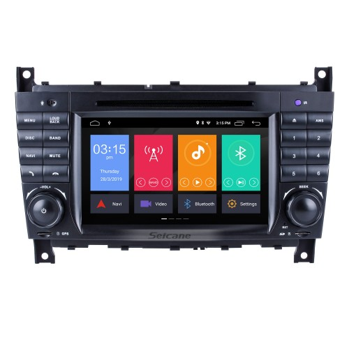 Android 9.0 Car Radio DVD GPS System for 2004-2007 Mercedes Benz C Class W203 C180 C200 C220 C230 with 3G WiFi AM FM Radio Bluetooth Mirror Link OBD2 AUX DVR