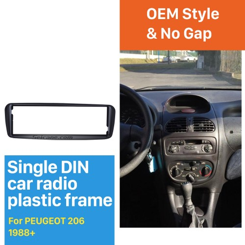 Professional 1 Din Car Radio Fascia for 1988+ UP PEUGEOT 206 Auto Stereo Adaptor Trim Installation Kit Frame Panel
