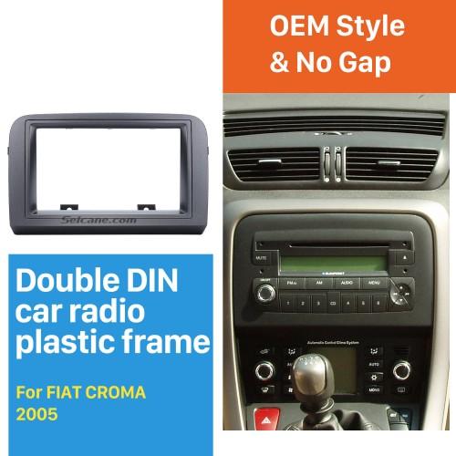 Grey Double Din Car Radio Fascia for 2005 FIAT CROMA Stereo Dash CD Frame Panel Trim Installation Kit