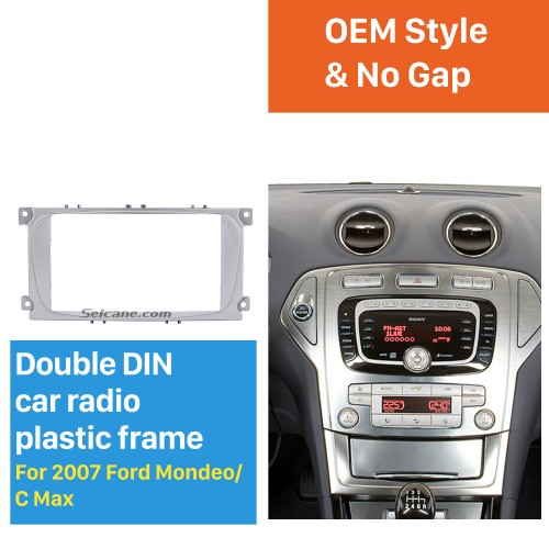 Silver 2Din Car Radio Fascia for 2007 Ford Mondeo C Max Trim Install Frame Panel Plate Stereo Interface