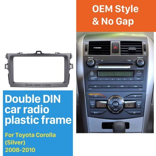 Silver Double Din 2008 2009 2010 Toyota Corolla Car Radio Fascia Dash Installation Kit DVD Frame Plate Cover