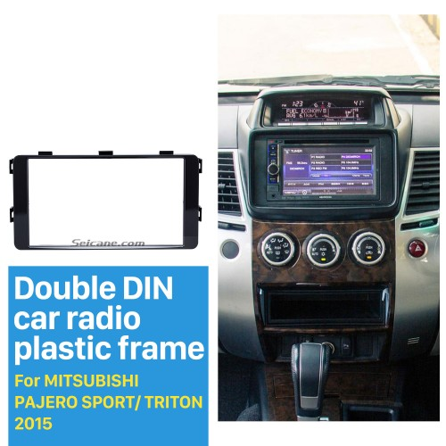 Fantastic Double Din 2015 Mitsubishi Pajero Sport Triton Car Radio Fascia Trim Dash CD Installation Kit Frame Panel