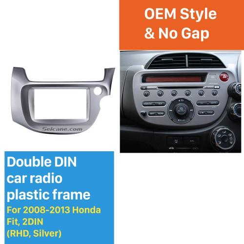 Silver 2 Din 2008 2009 2010 2011 2012 2013 Honda Fit RHD Car Radio Fascia Audio frame Stereo Interface Panel Adaptor