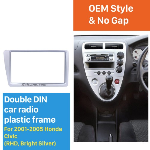 Bright Grey Double 2Din 2001-2005 Honda Civic RHD Car Radio Fascia Panel Frame Stereo Interface DVD Player