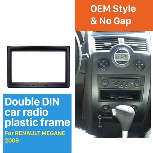 Latest 2 Din car radio Fascia for 2009 RENAULT MEGANE Audio Fitting Adaptor auto stereo installation Frame Trim Bezel