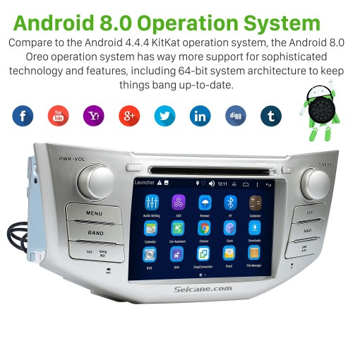Android 8.0 In Dash DVD GPS System for 2004-2010 Lexus RX 350 with Bluetooth HD  touch screen OBD2 DVR Rearview camera TV 1080P Video 3G WIFI Steering Wheel Control USB SD