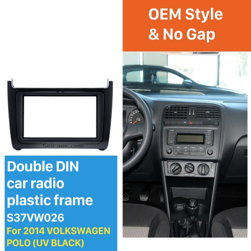 UV Black Double Din 2014 Volkswagen Polo Car Radio Fascia Auto Stereo DVD Frame Audio Player Trim Installation