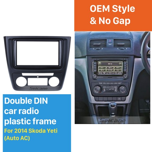 Nice 2Din Car Radio Fascia for 2014 Skoda Yeti with Auto AC CD Trim Stereo Dash Panel Frame Audio Cover