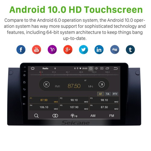 Android 10.0 9 inch HD Touchscreen for 1995-2003 BMW 5 Series E39/X5 E53 Radio GPS Navigation System Bluetooth Carplay support OBD2 DVR