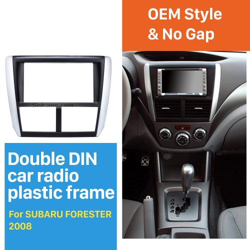 Black Double Din Car Radio Fascia for 2008 2009 2010-2013 Subaru Forester Impreza Fitting Frame Dash CD DVD GPS Surround Panel