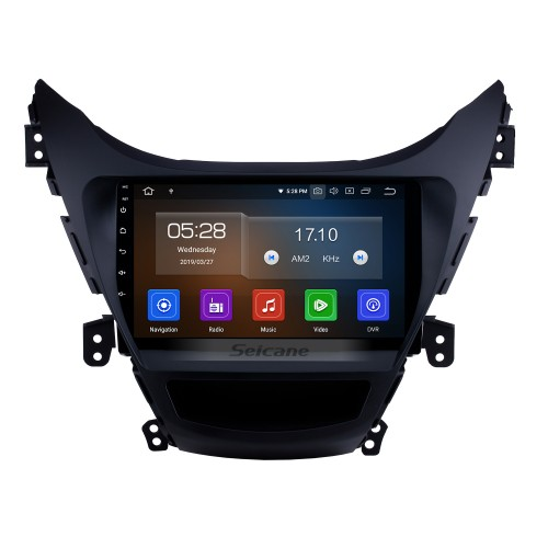 9 inch 2011 2012 2013  Hyundai Elantra Radio Replacement with Aftermarket Car Bluetooth GPS System 1024*600 Multi-touch Capacitive Screen 3G WiFi Mirror Link OBD2 AUX HD 1080P Video DVR