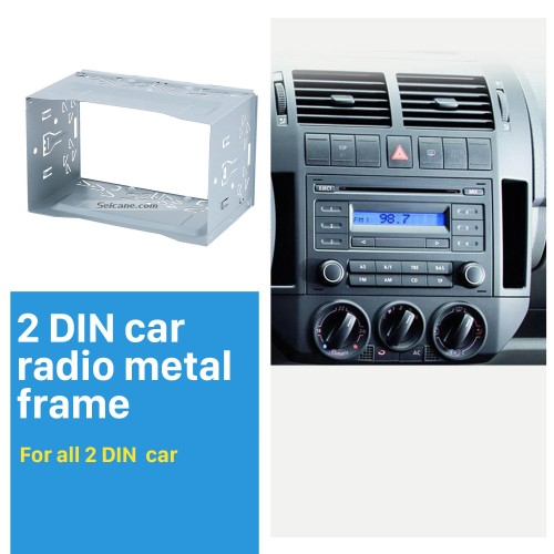 Hardware Car Stereo Radio Fascia Panel for Universal Car Radio DVD Player 2 Din Frame Install Dash Bezel Trim Kit No gap