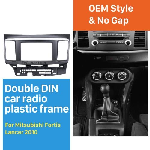 2Din 2010 Mitsubishi Fortis Lancer Car Radio Fascia With Silver Stripe Trim Installation Kit Auto Stereo Dashboard Panel