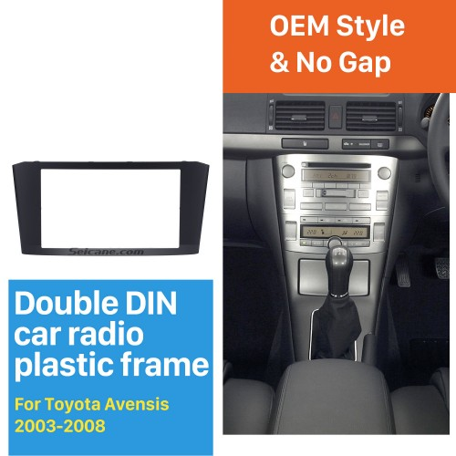 Black Double Din 2003-2008 Toyota Avensis Car Radio Fascia DVD Frame Stereo Player Face Plate Panel Adaptor