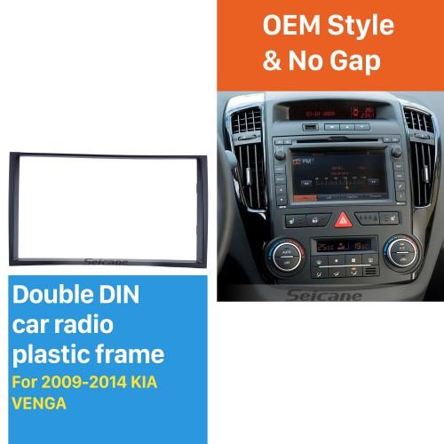Black Double Din 2009 2010 2011 2012 2013 2014 KIA VENGA Car Radio Fascia In Dash Mount Kit Install Frame Audio Player