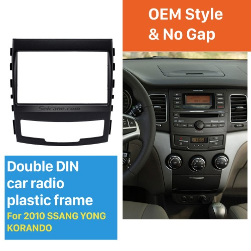 Fashionable 2 Din Car Radio Fascia for 2010 SSANG YONG KORAND Fitting Frame Stereo Interface Dash Mount Kit Adaptor