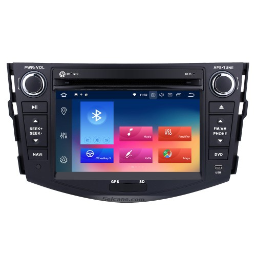 Android 9.0 Aftermarket Radio for 2006-2012 TOYOTA RAV4 with GPS Navigation HD 1024*600 touchscreen DVD Player Bluetooth WiFi Mirror Link Steering Wheel Control 1080P Video
