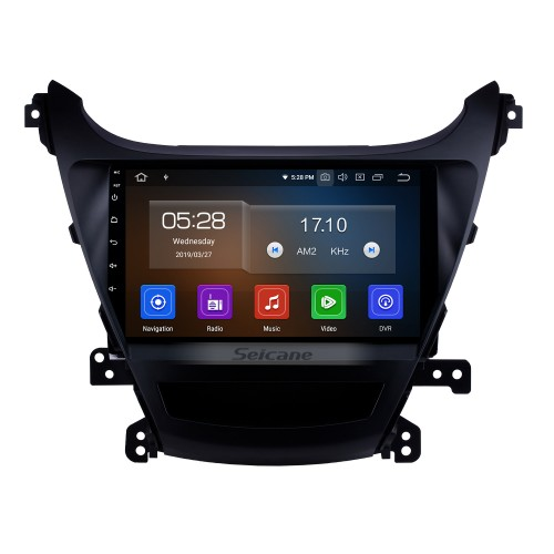 OEM 9 inch Android 9.0 2014-2015 Hyundai Elantra Radio Upgrade with DVD GPS Stereo Bluetooth Mirror Link OBD2 AUX 3G WiFi DVR