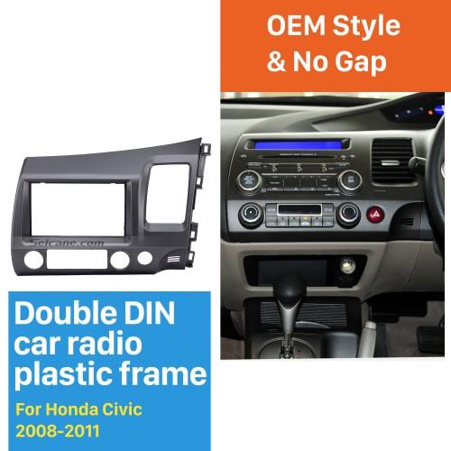 Classic Gray 2Din 2008 2009 2010 2011 Honda Civic RHD Car Radio Fascia Auto stereo Adapter In Dash Mount Kit Frame Panel