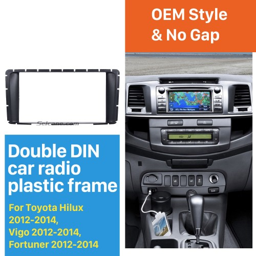 Nice Double Din 2012 2013 2014 Toyota Hilux Vigo Fortuner Car Radio Fascia Stereo Interface DVD Frame Audio Cover Panel Plate