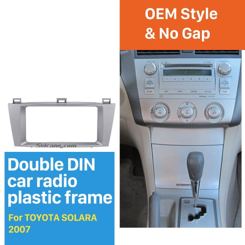 Silver 2 Din Car Radio Fascia for 2007 Toyota Solara Dash Mount Kit Stereo Install Fitting Frame