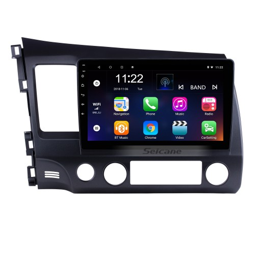 10.1 inch 1024*600 HD Touch Screen Android 8.1 GPS Navigation Radio for 2006-2011 Honda Civic(LHD) with Bluetooth WIFI OBD2 USB Audio Aux 1080P Rearview Camera